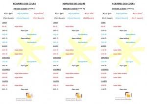 Planning des séances d'activités (période scolaire)