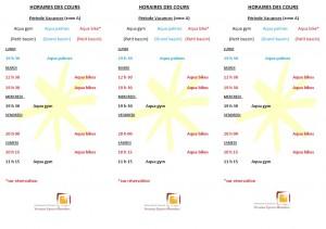 Planning des séances d'activités (période vacances zone A)