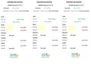 Planning des séances en période de vacances scolaires (Zone A)