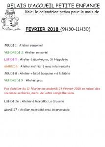 RAPE - Programme des ateliers de février 2018